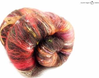 Red & Brown Fiber Art Batt for Spinning, Felting, Weaving - Natural Wool Batt - {Ablaze} - 3.0 oz - OOAK - Spinning Fiber