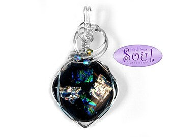 Blue-black dichroic fused glass and wire wrapped pendant