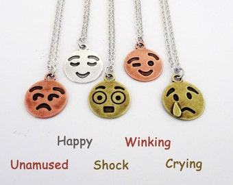 Cute smile necklace, Cute necklace, Smiley face, Smiley face necklace, Smile face, Smile Jewelry, Happy Face, Emoji necklace