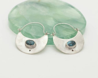 Sterling silver solid hoop earrings with turquoise