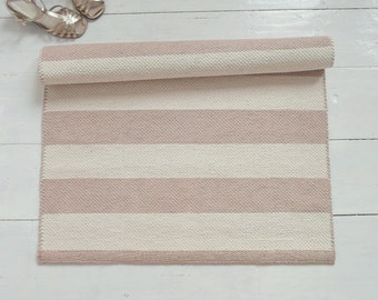Beige and Ivory Striped Rug, Pastel Rug, Nursery Rug, Scandinavian Rug, Handmade, Washable, Woven on the Loom, Ready to Ship
