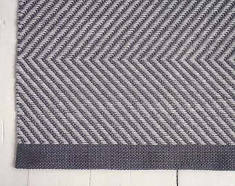 4x6 Grey Area Rug, Chevron Cotton Rug, Geometric Rug, Handmade Rug, Extra Soft and Thick, Woven on the Loom, Made to Order