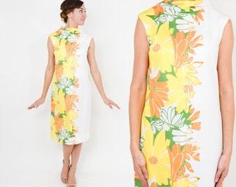 60s Yellow Floral Dress | Sleeveless Shift Dress | Gerard | Medium
