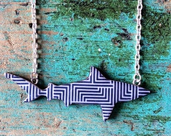 Shark Necklace / Bull Shark Necklace - Blue Geometric