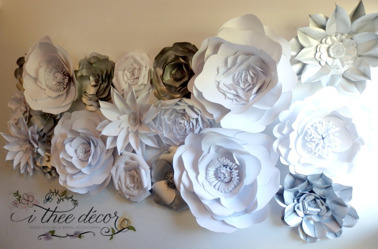 paper flower wall silver  u0026 white flowers wedding by itheedecor