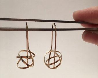 "Handmade artisan Sculptural 14k gold filled 1 3/8"" long wire earrings."