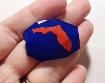 Florida in orange on blue Beads - Faceted Nugget Bead - FLAT RATE SHIPPING 34mm x 24mm