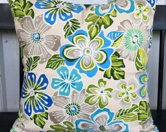 Pillow cover blue green and cream floral 20x20 Decorative Throw Pillow
