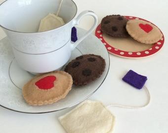 Pretend Play Felt Cookies, Pretend Tea Party Set, Lavender Tea Bags