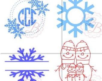 Snowflake SVG, Snowflake Monogram SVG, Snowflake Split SVG