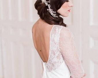 Bridal headpiece, silver headpiece, wedding, pearl , crystal ,rhinestone, flowers, sprigs