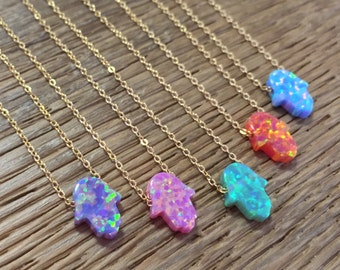 New 925 sterling silver necklace with mini Opal hamsa pendant