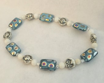 Blue sun and moon bracelet