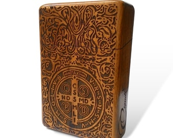 Constantine Java Teak Wooden Cigarette Case Engraved