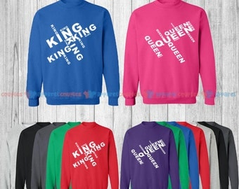 King & Queen - Matching Couple Sweatshirt - His and Her Sweatshirts - Love Sweaters