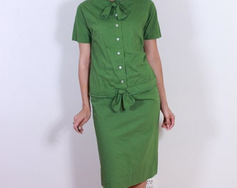 1940s Teena Paige Forest Green Cotton DRess