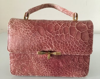 1960s Vintage Pink Leather Hand Purse