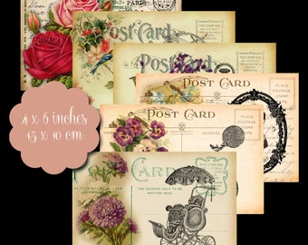 6 Vintage Postcard Tags