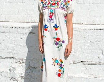 Mexican wedding dress traditional hand embroidered - 100% cotton material (manta)