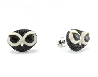 "Hand Carved - ""Galactic Owl"" - Ebony Wood with Bone Inlay Stud Earring - Wisdom of Owls"