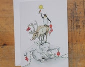 Hand Drawn Christmas Card: Animal Tree Pile