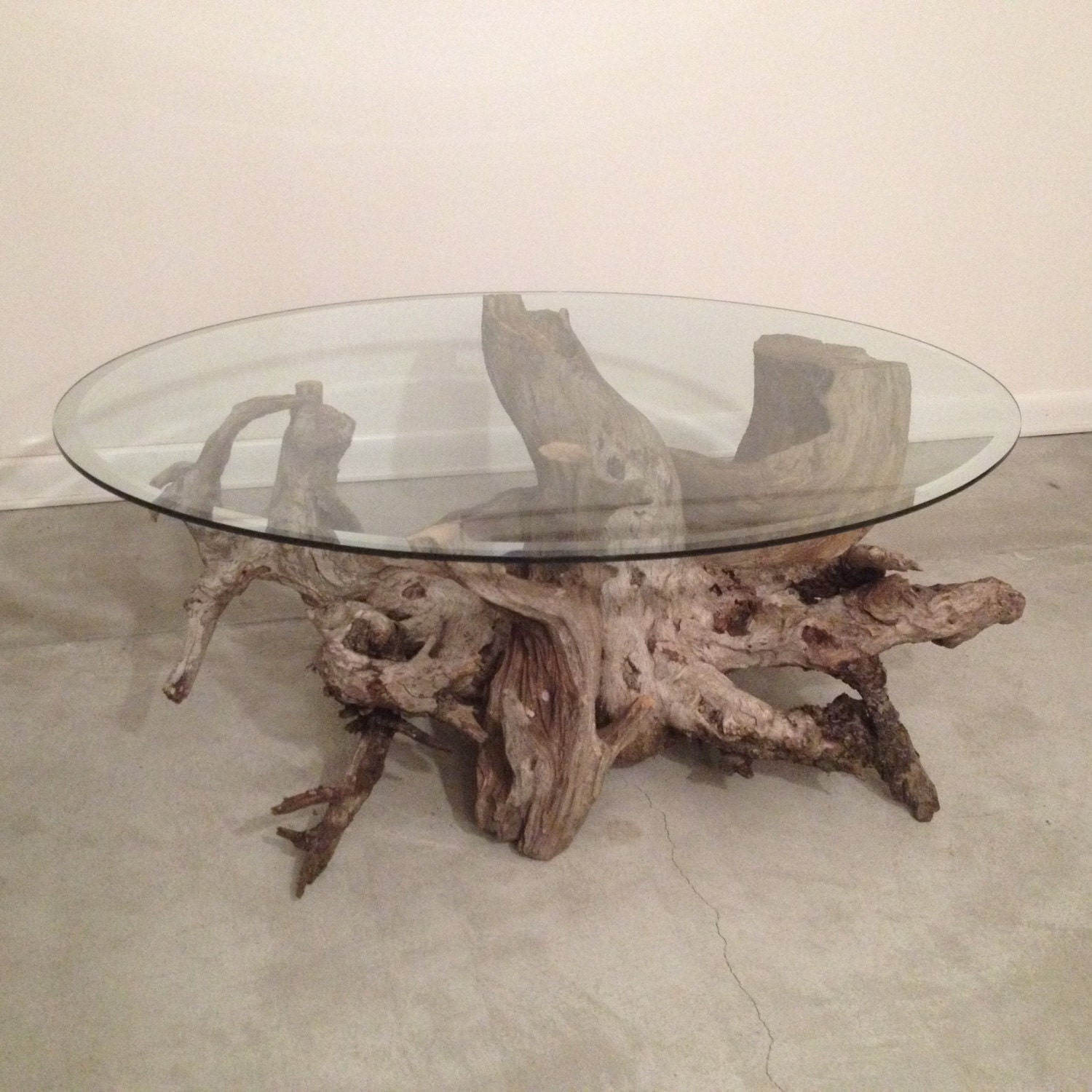 Etsy Round Coffee Tables: Driftwood Coffee Table. Style 4. Handmade From Reclaimed