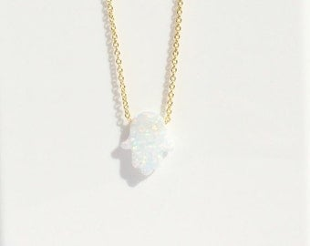 Hand of hamsa white opal necklace in gold plated sterling silver, Elsa approved and safe to get wet, EVERYDAY BEST PRICE