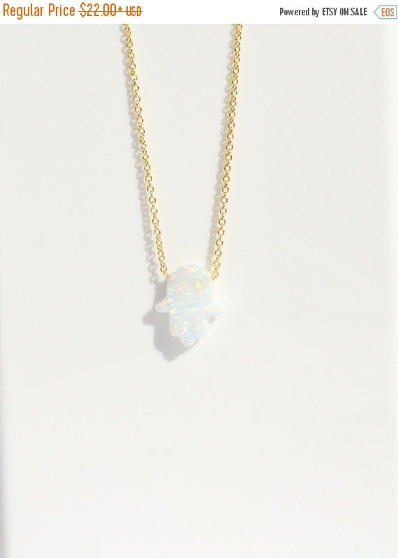 hand of hamsa opal necklace gold filled