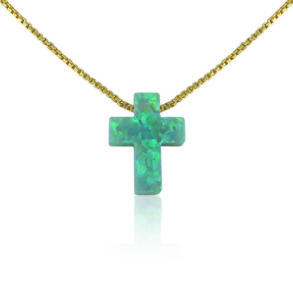 Opal Cross Necklace, Green Opal, Very Rare! For Prosperity and Hope, Waterproof Gold Plated 925 Sterling Silver Chain, Ideal Green Gift