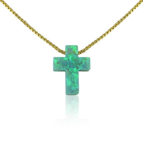 cross opal necklace green gold MEGA SALE!