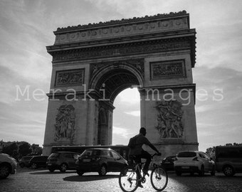 Arc de Triomphe Traffic ~ Travel Photography Europe, Wall Art Print