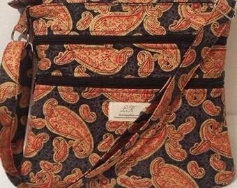 Triple zip cross body hipster bag quilted handmade