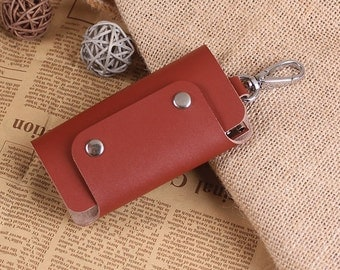 Leather Key Holder - Small Leather Key Case with Snap Closure - Handmade Leather Keychain - Hand crafted Leather Key Holder