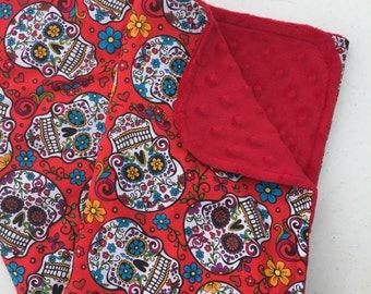 Sugar Skull Baby Blanket, Minky Blanket, Nursery Bedding, Day of the Dead,  Red, Turquoise, Pink, and Yellow, Red Minky Back