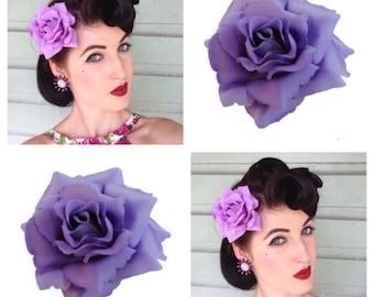 Purple Single Rose Hairclip