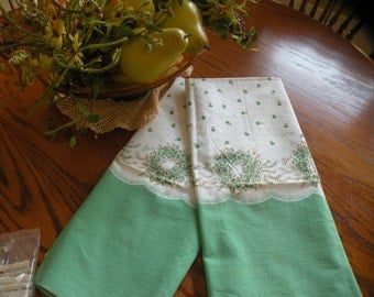Vintage/Antique  Sugar Sack *flower wreath* Pillowcase Pair