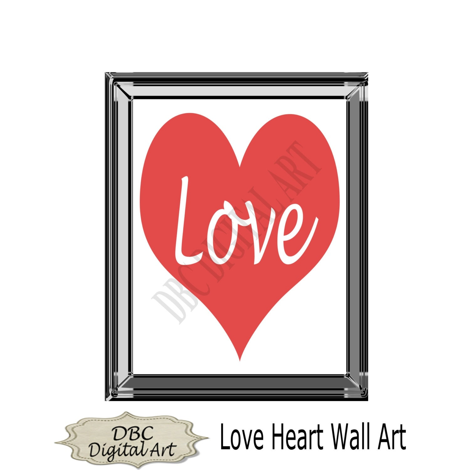 Wall Art Love Heart : Love heart wall art inspirational by