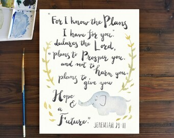 Scripture Art, elephant decor, nursery deco, watercolor art, baby shower gift, Jeremiah 29:11