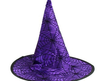 "10"" Purple Witch Hat, Witch Hat, Purple Spider Web Witch Hat, Halloween Decor, Halloween Witch Hat - HH728623"