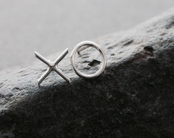 Sterling Silver XO Earrings. Hugs and Kisses Stud Earrings.