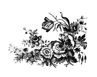 "Vintage Botanical Fowers Temporary Tattoos - ""April Showers Bring May Flowers"""