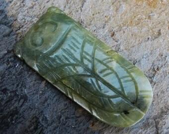 Large Natural Serpentine Cicada Katydid Stone Pendant