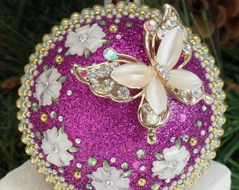 Pretty Pearl Butterfly on Purple Christmas Ornament