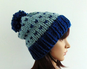 Chunky Knit Slouchy Pompom Hat Beanie Womens Teens Blue Hand Made in Alaska