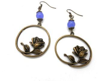 Earrings bronze flower, purple natural Pearl