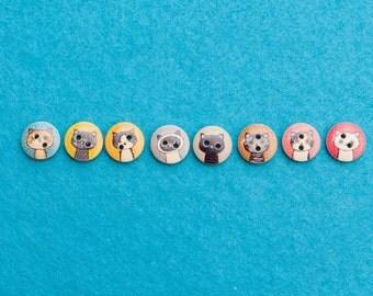 Wooden Cat Buttons