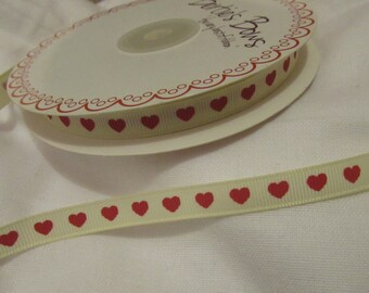 Ivory and Red Heart Ribbon