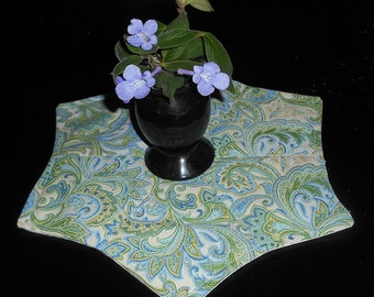 Elegant Table Topper / Candle Mat / Blue Green Yellow Paisley