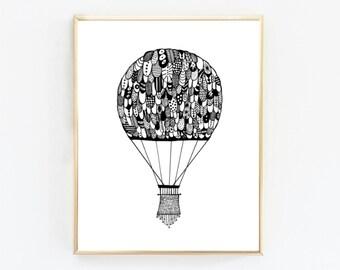 Hot Air Balloon-  Printable Art, Downloadable Print, Wall Print, Home Decor