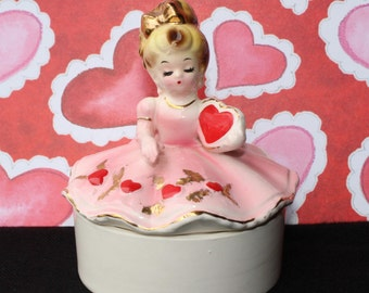 On Sale!! Vintage JOSEF ORIGINALS HEART Trinket Box